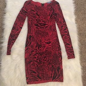 Alice + Olivia tiger/leopard red dress size S